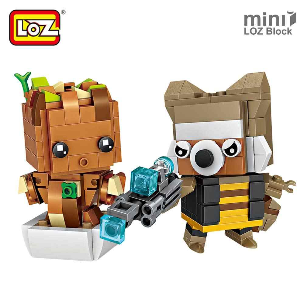 LOZ Mini Blocks Raccoon Flowerpot Baby Tree Action Figure Toys Building Blocks Bricks Anime Figurine DIY Set Single for Ages 6+