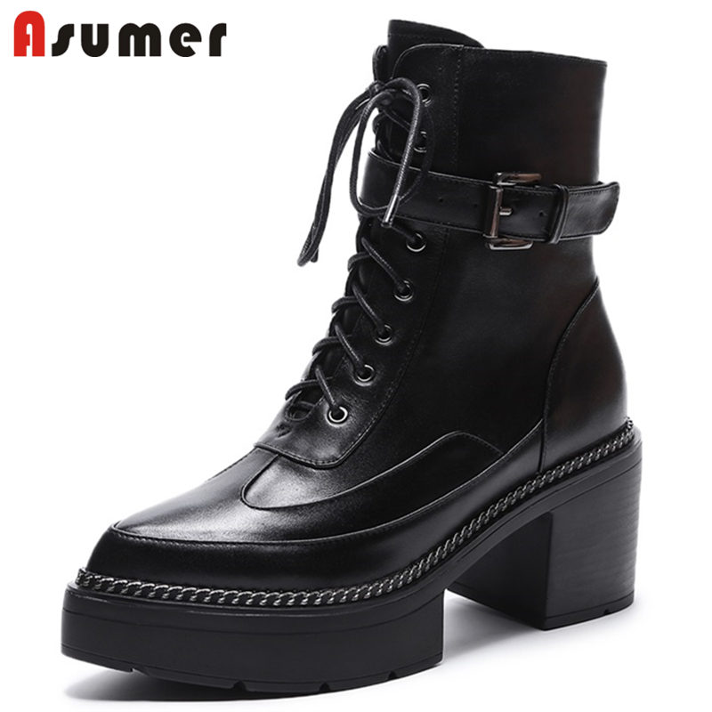 ASUMER NEW 2018 fashion zipper ankle boots women pointed toe genuine leather boots high heels platform buckle autumn boots european style autumn genuine leather fashion ankle boots round toe zipper belt buckle high heels motorcycle boots women boots