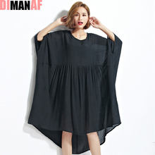 DIMANAF Women Summer Dress Plus Size Solid Blouse Chiffon Large Female Casual Patchwork Fashion T-Shirt Batwing Sleeve Dress(China)