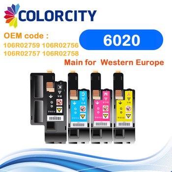1 Juego de cartucho de tóner COLORCITY compatible para impresora Xerox Phaser 6020 6022 Workcentre 6025 6027 para impresora 106R02759/2756/2757/2758