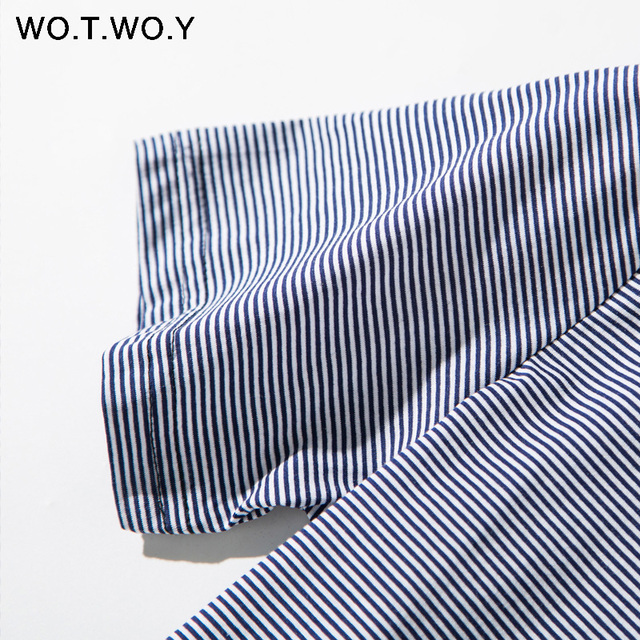WOTWOY Summer Blue Striped T-shirts Women O-neck Short Sleeve Tees Plus Size Woman Tops Cotton Soft Elastic Streetwear T shirts T-Shirts