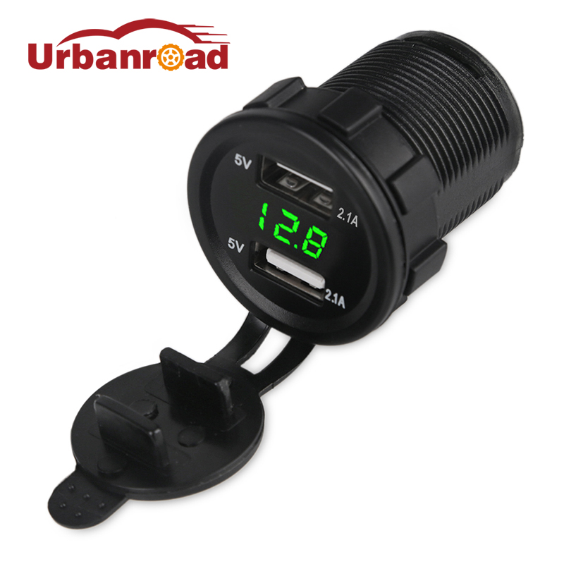12 v 2.1A Motorfiets Auto USB Charger Voltmeter Socket Dual USB Motorfiets Sigarettenaansteker Voltage Meter Adapter Socket Boot