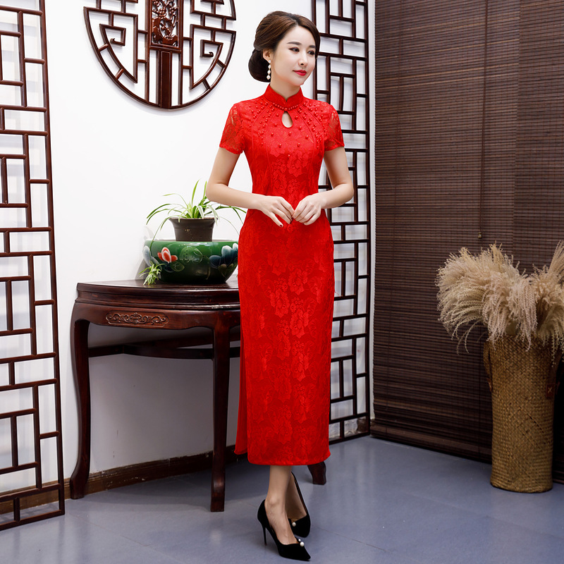 New Arrival Embroidery Qipao Long High Split Lace Cheongsam Dress Women's Chinese Traditional Dress Plus Size M L XL XXL 3XL 4XL