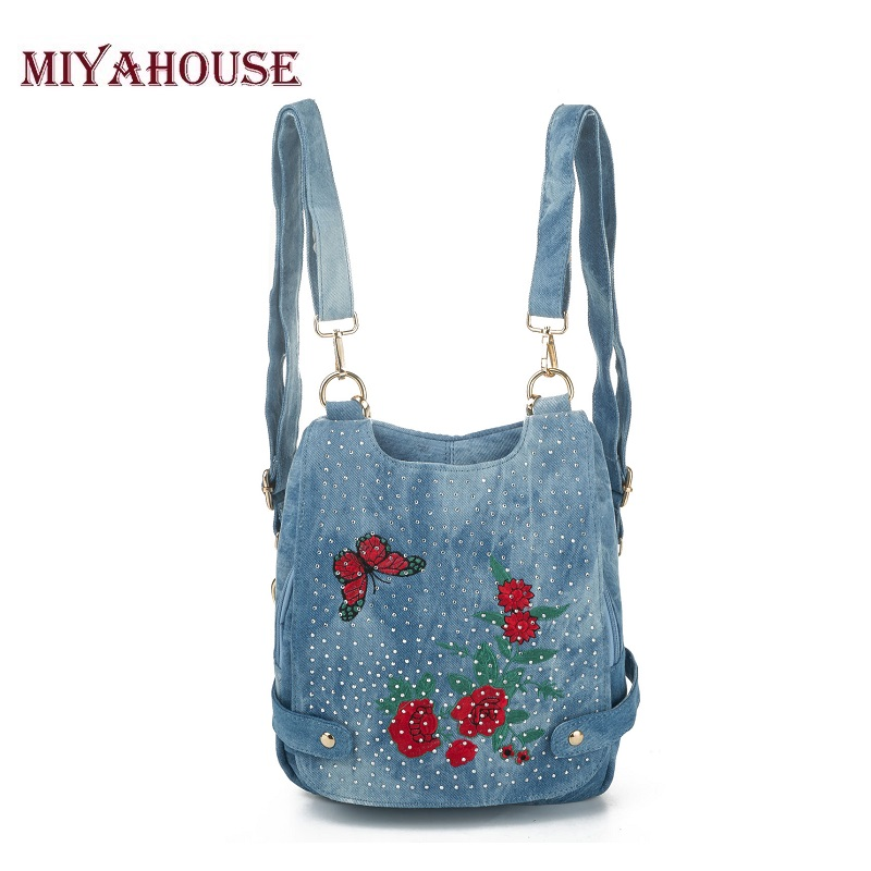 Miyahouse Women Backpack Female Jeans Shoulder Bag Denim School Backpacks For Teenage Girls Women Bag Travel Backpack Mochila women backpacks for teenage girls school campus bags vintage denim backpack travel girls shoulder bag travel backpacks
