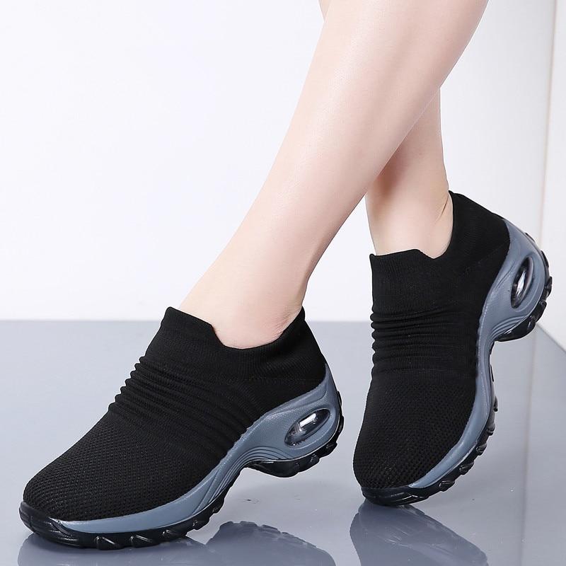 LAISUMK 2019 Fashion Women Platform Shoes Summer Breathable Mesh Casual Shoes Woman Slip-on Comfortable Air Cushion Ladies Shoes