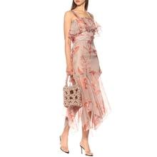 Sexy Women Dress Sling Laminated Lotus Leaf Stitching Print Irregular Perspective Dress Summer New jungle leaf print shell dress