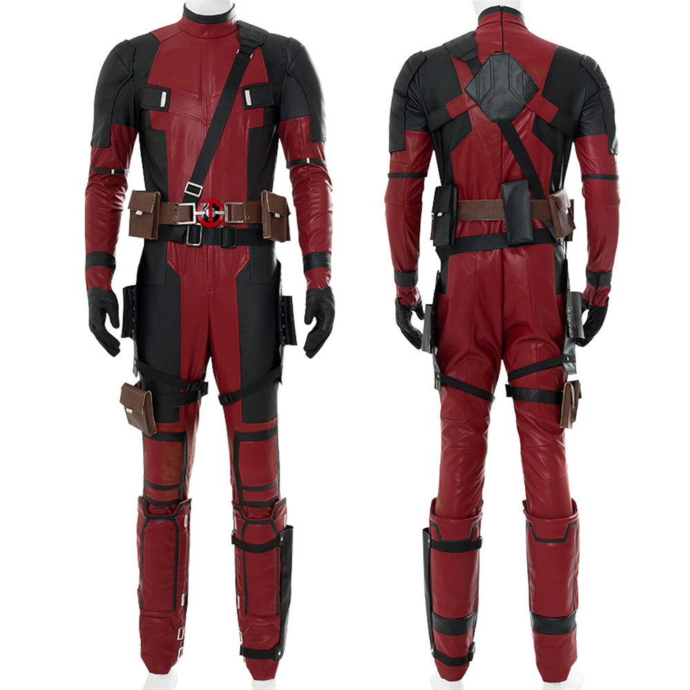 Deadpool 2 Wade Winston Wilson Cosplay Costume Red Deadpool PU Leather Cosplay Jumpsuit Full Set Adult Halloween Cosplay Costume