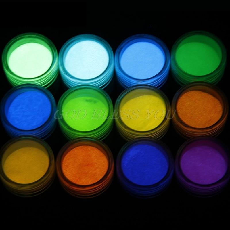 12 Colors Fluorescent Super Bright Glow-in-the-Dark Powder Pigment DIY Jewelry Drop Shipping