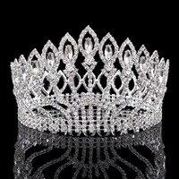 Vintage Big Rhinestone Prom Princess Crown Crystal Bride Flower Tiara Bridal Head Jewelry Pageant Wedding Hair