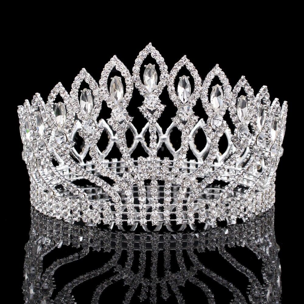 Vintage Big Rhinestone Prom Princess Crown Crystal Bride flower Tiara Bridal Head Jewelry Pageant Wedding Hair Accessories