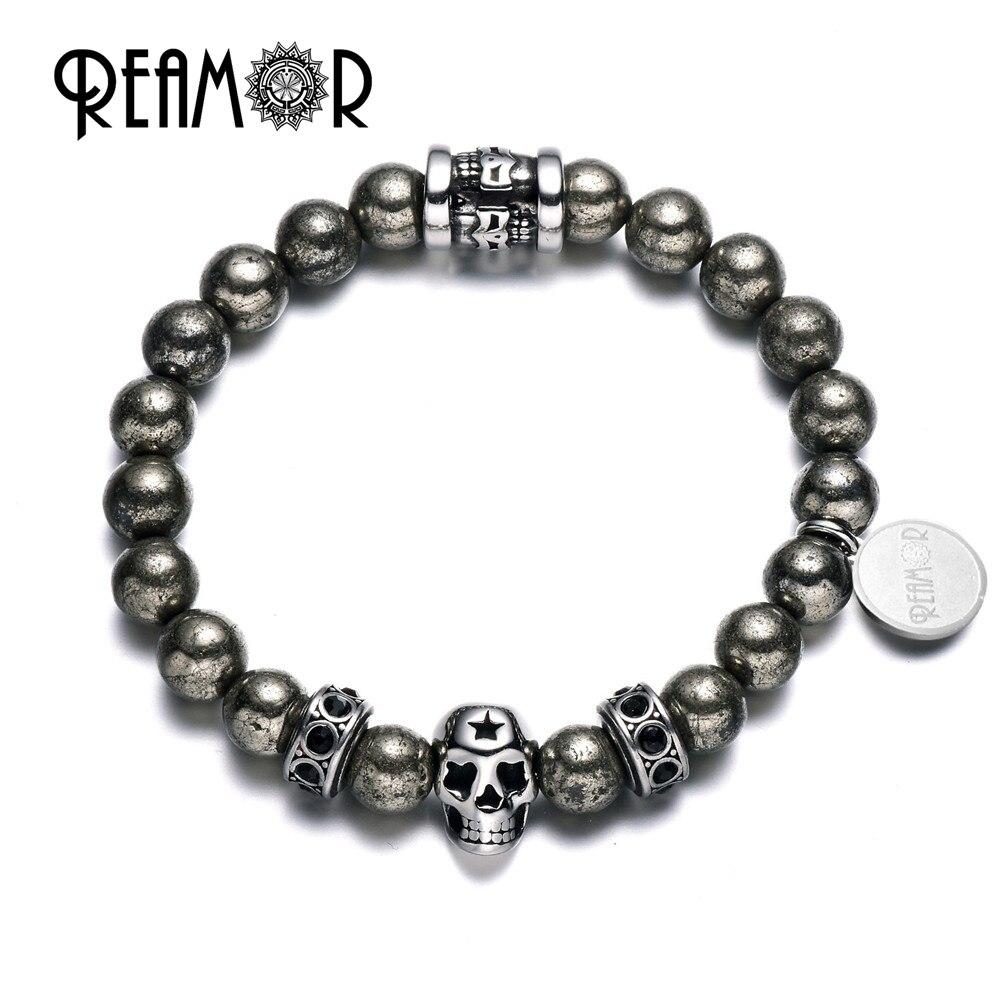 REAMOR Rock Round Gold Pyrite Bracelet Hematite Natural Stones Stainless Steel Skull Beads Strand Bracelets Men Jewelry