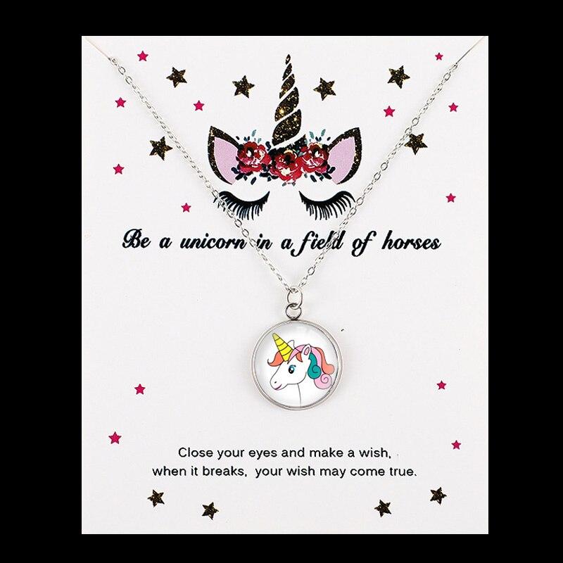 Единорог Лошадь Подвески Ожерелья пчелы с принтом в виде медоносной пчелы, рубашка с изображением фламинго, Русалка 18 мм Стекло кабошон Для женщин, ювелирные изделия для девушек, для вечеринки, дня рождения подарок - Окраска металла: NE1512