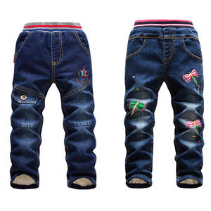 Image 1 - Jeans en coton pour enfants, vêtements dautomne taille 10 pour petites filles, pantalon chaud pour grands et garçons, à la mode, hiver offre spéciale