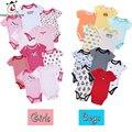 5 pçs/lote Bebê Macacão de Mangas Curtas New born Baby Boy roupas Conjuntos de Roupas de Bebê Meninas Roupas Bebe Bebê Cor Aleatória Jumpsuits