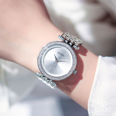 GUOU watch 2018 Top brand fashion Silver Women watches luxury stainless steel female quartz watch Girl Rhinestone watches Reloj nary watch women fashion luxury watch reloj mujer stainless steel quality diamond ladies quartz watch women rhinestone watches