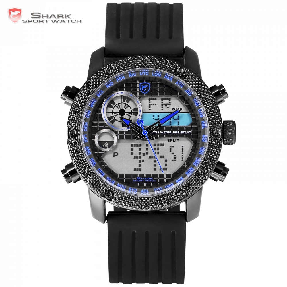 Porbeagle Shark Sport Mens Watches Dual Display Digital LCD Blue Clock Army Military Wristwatch Quartz Relogio Masculino /SH588 leap pq9903a digital chess clock with lcd display