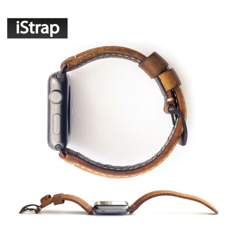 iStrap Silver Black Handmade Assolutamente Italy Watch Band Genuine Leather Watch Strap Link For Iwatch Apple Watch 38mm 42mm istrap 22mm handmade genuine calf leather padded replacement watch band for men black 22