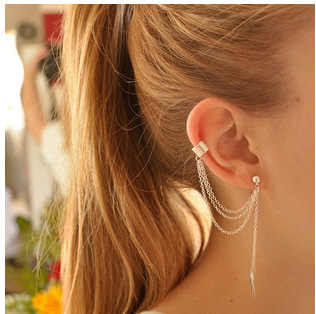 Earrings Jewelry Fashion Personality Metal Ear Clip Leaf Tassel Earrings For Women Gift Pendientes Ear Cuff Caught In Cuffs