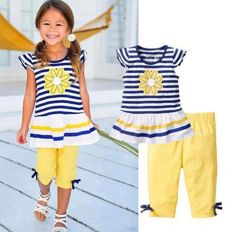 Ectic Комплекты летней одежды для девочек костюм для малышей Детская Полосатая майка без рукавов + штаны