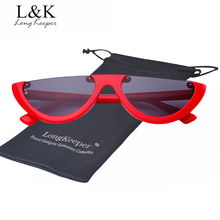 Long Keeper Hot Sale Women Small Half Rimless Sunglasses 2018 Trendy Men Cat Eye Sun Glasses Lady Sexy Eyewear With Glasses Bag