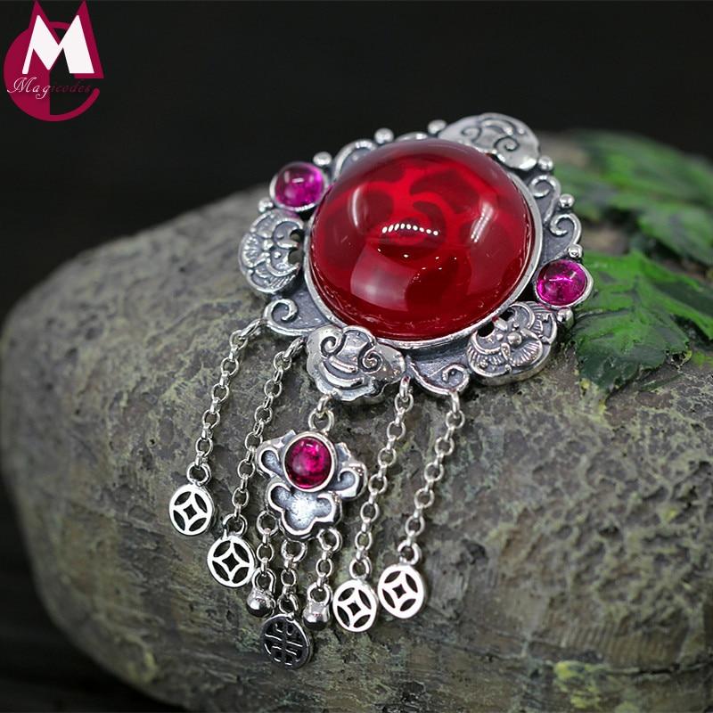 купить 20*20 Big Gemstone Red Jade Necklaces Pendants Thai Silver Fine Tassel Pendant For Women Ethnic Hollow Coin Vintage Jewelry SP67 онлайн