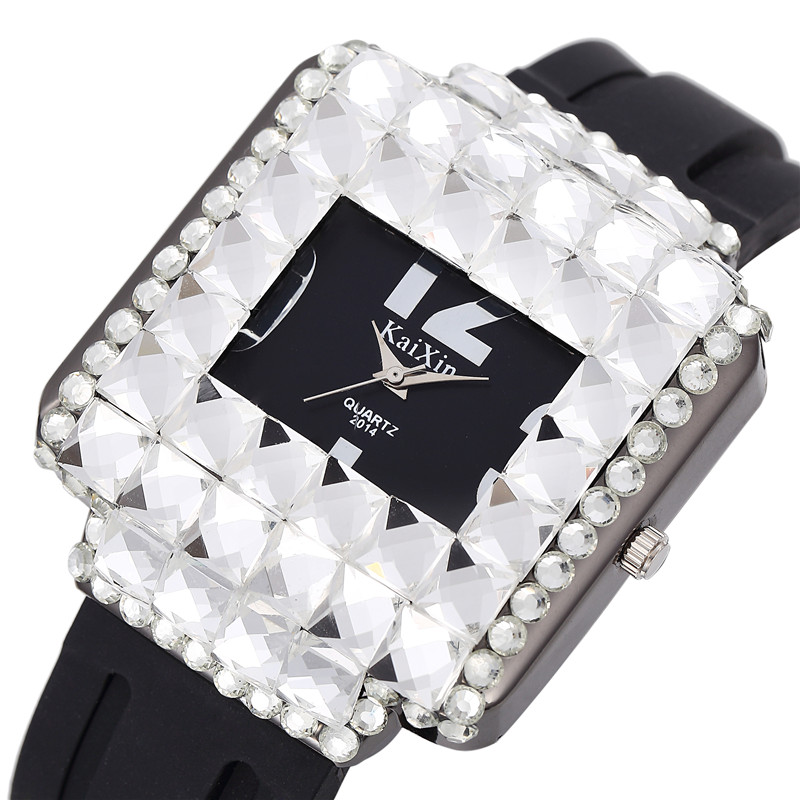 Luxury New New Fashion Silicone Full Diamond Quartz Wristwatch Shining Large Square Dial Ladies Watch Relojes Mujer