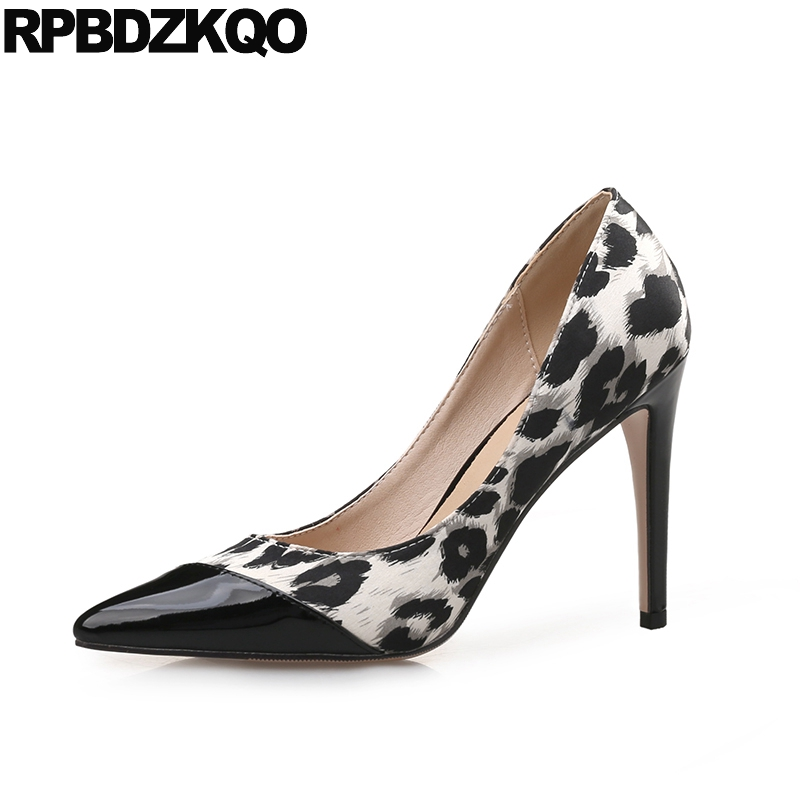 Ladies Size 33 11 43 Flower Printed High Heels Shoes 2017 4 34 Pumps Patent Leather Sexy Small 12 44 Big Stiletto Pointed Toe 4 34 small size gold shoes wedding pointed toe 7cm 3 inch satin high heels stiletto 33 flower pumps ladies colourful embroidery