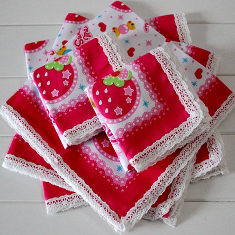 Child's Handkerchief Cotton Handcuffs Pocket Towel Lace Children Handkerchief 3Pcs/Lot
