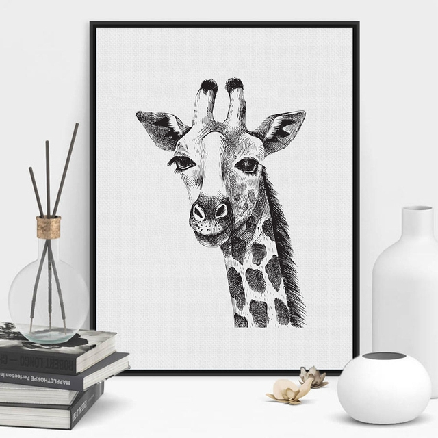 Black and white giraffe wall art print and poster hand painted animal giraffe wall picture
