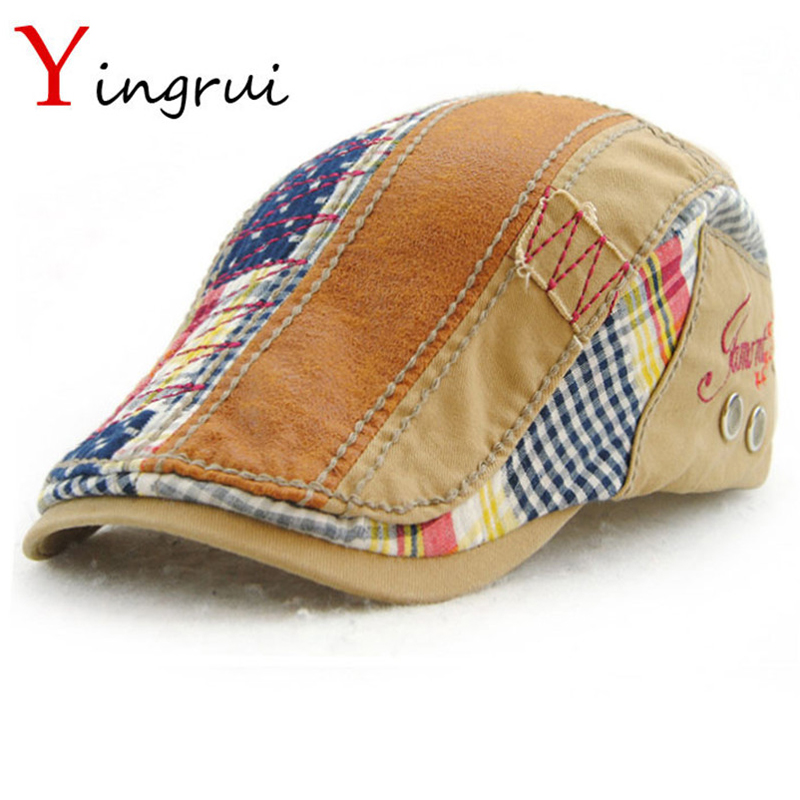 0516a61cf408f Yingrui Western Style Unisex Casual Newsboy Cap Patchwork Adult Cotton  Casquette Boinas Leisure Mens Beret Hats Ivy For Cap