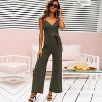 green rompers womens jumpsuit long body feminino sexy backless streetwear romper women v neck suspenders bodies ladies fashion