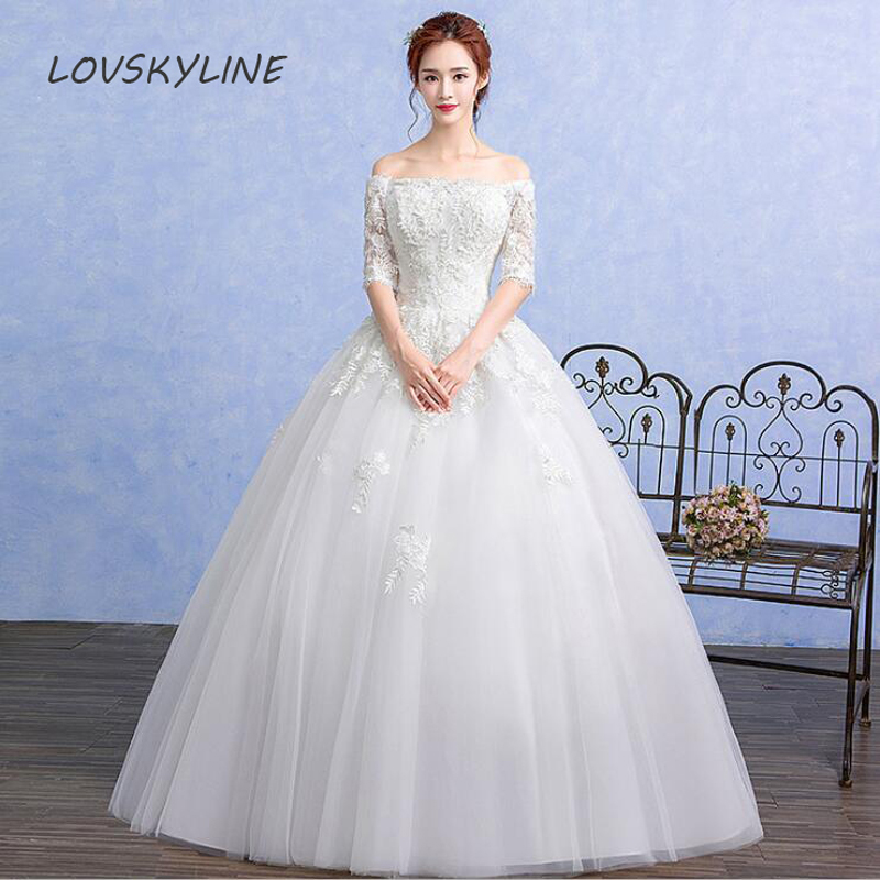 Vestido De Noiva Boat Neck Half Sleeves Wedding Dresses 2018 Slim Embroidery Lace Up back Vintage Embroidery Lace Bridal Gowns