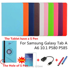 360 Rotating Litchi skin PU Leather case cover capa para For Samsung Galaxy Tab A A6 10.1 P580 P585 Tablet PC+film+stylus+OTG protective litchi rotating pu leather stand cover cases for samsung galaxy tab 3 7 0 inch p3200 p3210 t210 t211 tablet pc