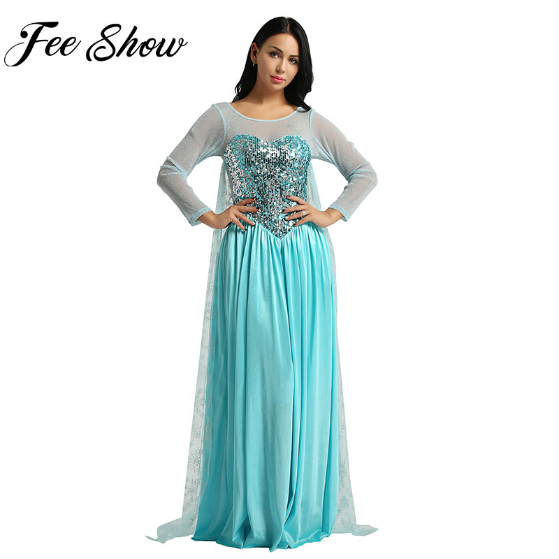 Feeshow Women's Elegent Princess Dress Costume Halloween Party Blue Dress Adult Fancy Rave Carnival Cosplay Christmas Outfits