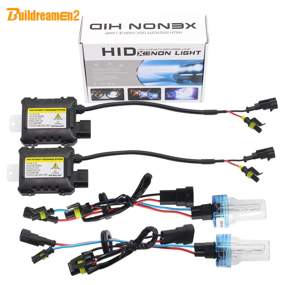 Buildreamen2 55W HID Xenon Kit Bulb Digital Ballast Block H1 H3 H7 H8 H9 H11 9005 9006 880/1 3000K-8000K 12V Car Light Headlight