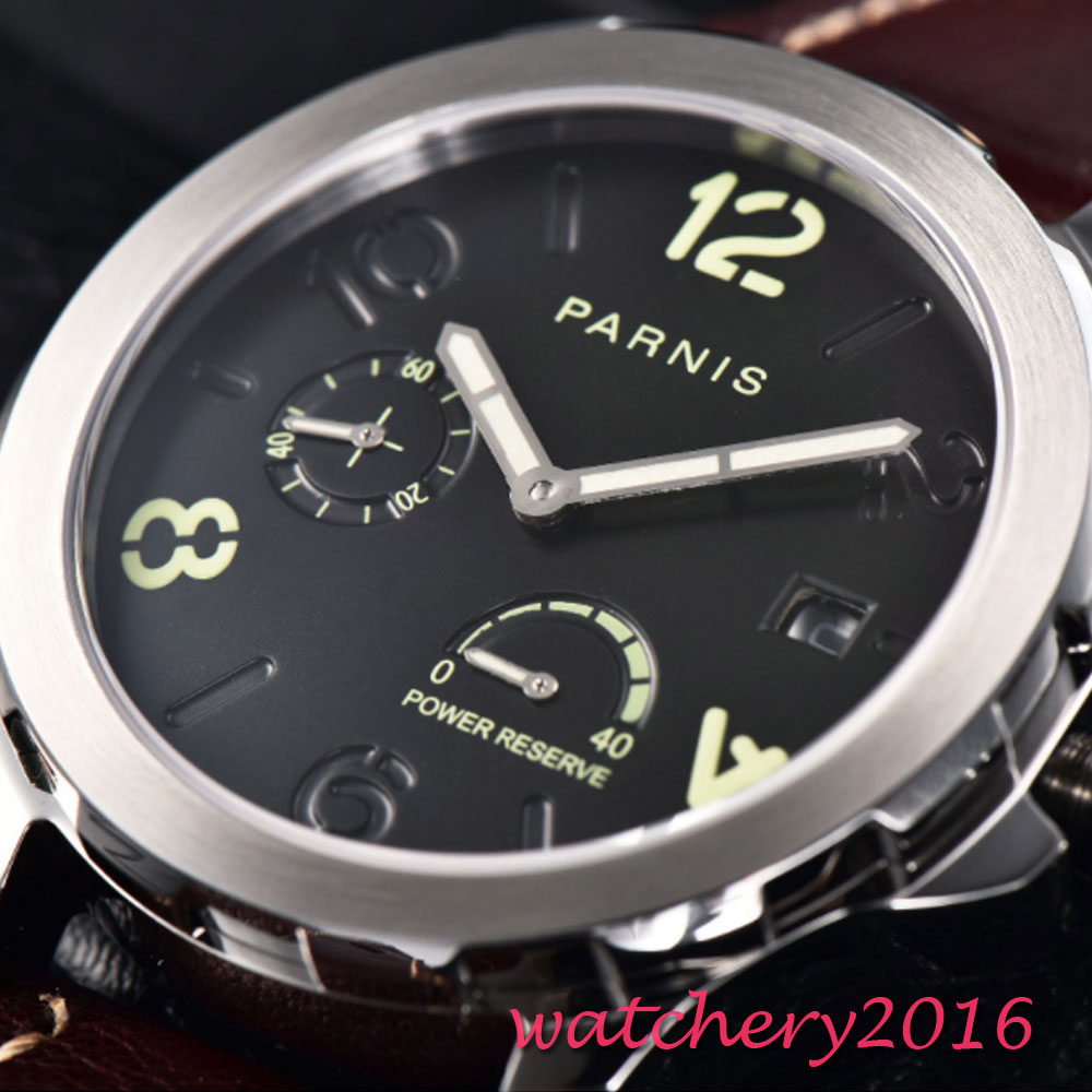 44mm Black Dial Leather Luminous Date Date PVD Sapphire Automatic Watch Men Parnis Top Brand Luxuury Menchanical Watches
