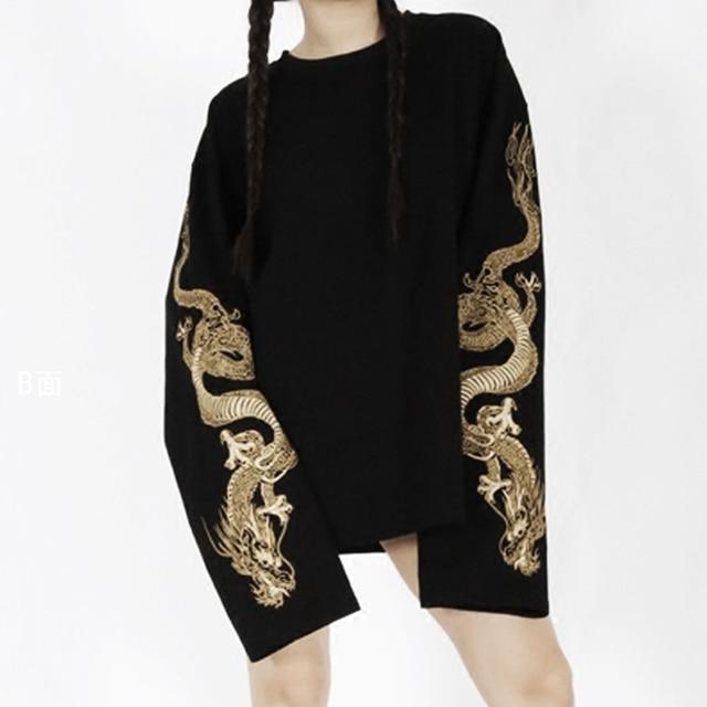 Women's Cool Harajuku Loose Style Black Hoodie Golden Dragon Embroidery  Sweatshirt Long Sleeve Japanese Long Shirt