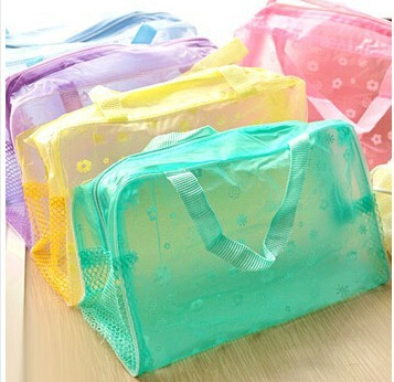 5 Colors Available <font><b>Transparent</b></font> Floral <font><b>Cosmetic</b></font> Storage <font><b>Bag</b></font> Travelling Bath <font><b>Bag</b></font> Drop Shipping image