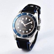 7dcb446f330 Vidro de safira 41mm Mostrador Preto Estéril erkek kol saati Relógio Marcas  homens relógio Azul Moldura Branca Mens Miyota Autom.
