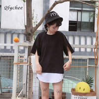 Qlychee Solid Harajuku Women T Shirt Short Split Cuff Tops Summer Fake Two Pieces Black Red