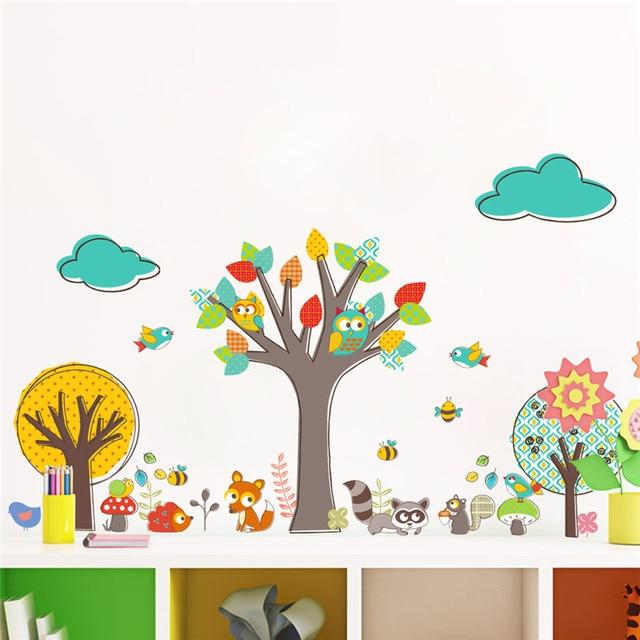 US $3.83 23% OFF|Wald Baum Tiere Eulen Eichhörnchen Bee Vögel Wandaufkleber  für Kinderzimmer Wohnzimmer Kindergarten Schlafzimmer Dekor Wandtattoo ...