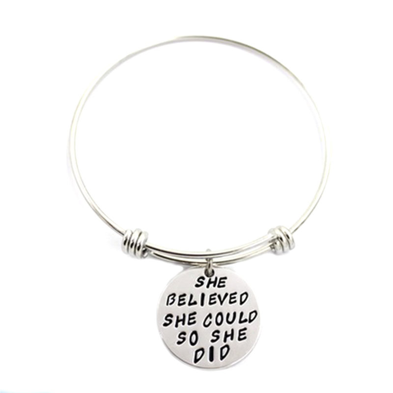 New Arrival Trendy She Believe She Could So She Did Pendant Charm Bracelet Bangle Women Girl Family Jewelry