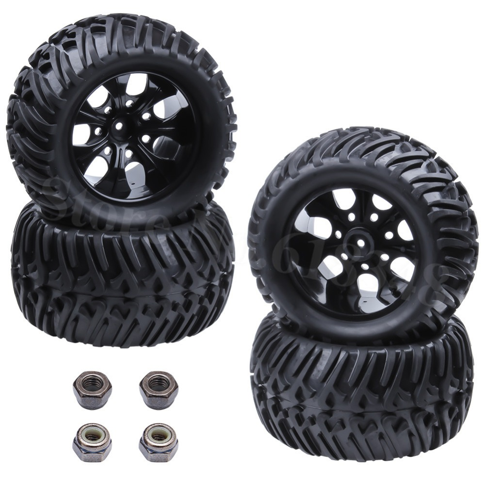 4x RC Monster Tires & Wheels Hex:12mm For 1:10th Monster Truck EP / Nitro Power HSP Tyrannosaurus BRONTOSAURUS
