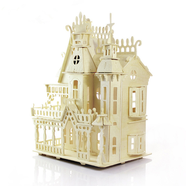 Chegam novas Casas De Madeira Chalé DIY Educacional 3D Puzzle Crianças Brinquedo De Madeira Puzzle Casa Modelo Casa de arquitectura Europeia