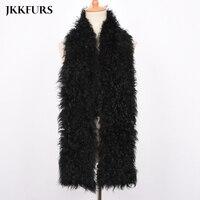 2019 Women's Real Mongolia Lamb Fur Scarf Women Winter Neck Warm Genuine Natural Fur Neckerchief Length 80cm S7478