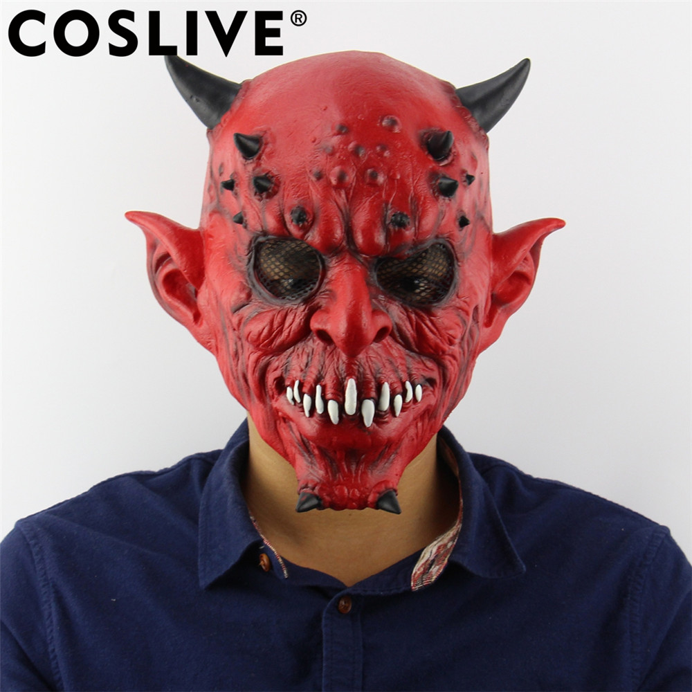 Coslive Christmas Sale Cheap Mask Horror Hell Night Fork Horns Beasts Masks Scary Ghost Head Latex Mask Holiday Cosplay Props