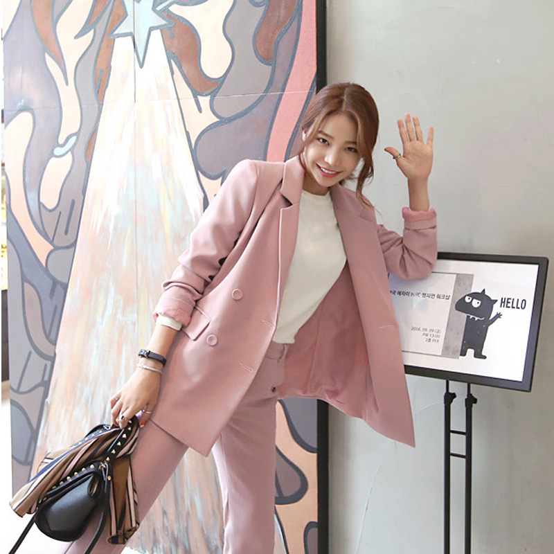 Two Piece Set Female  New Style Was Thin Double-breasted Temperament Pink Small Suit OL Jacket + Casual Elegant Nine Pants