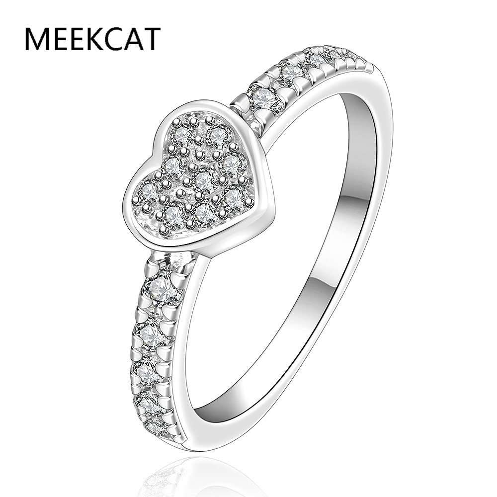 1f718c6798974 US $3.18 49% OFF|925 Sterling Silver Overlay Heart Be My Valentine Ring  with Clear CZ Original 2017 New Collection Jewelry(MEEKCAT MR3065)-in Rings  ...