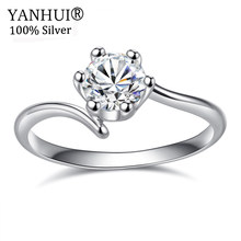 YANHUI 2019 New Design Fashion Silver Color Wedding Ring Original 5A Cubic Zircon Stone Engagement Ring Gift Jewelry BFR15(China)