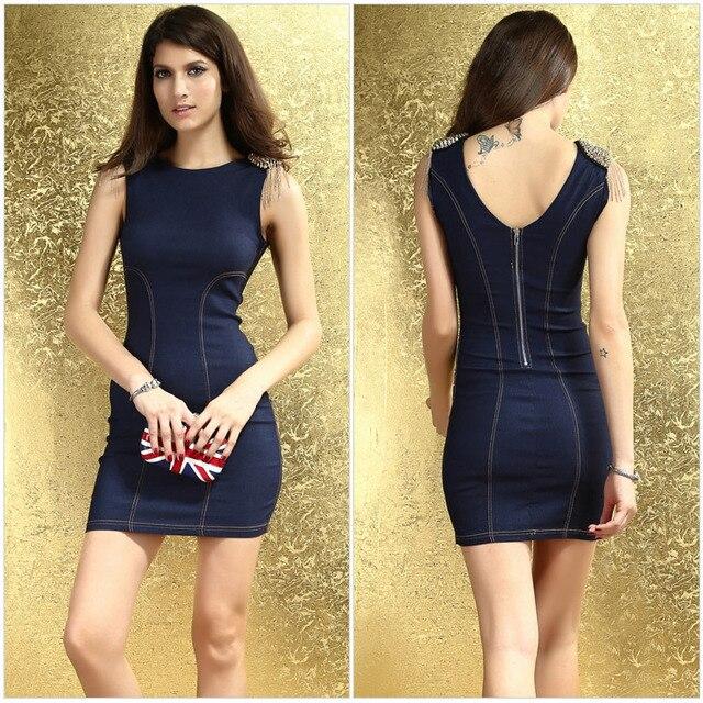 4143239f04 Discount 25% Stylish Rivets-shoulders With Gold Tassel Sleeveless Skintight  Work Slim Mini Denim Dress With Back Zipper LC2861